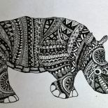 Zentangle inspired animal Rhino
