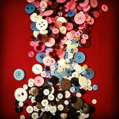 my buttons collection from my DIY hobby. Working on the art piece using buttons..on that later