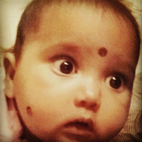 Todays pic prompt is Eyes. And this is the expression of my maid's baby girl when she first saw herself in the camera while I tried clicking a selfie