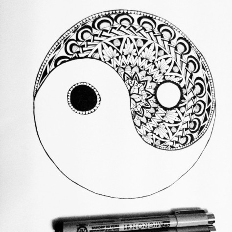 #fmsphotoaday #fmsphotoadaymay #latergram #fms_madebyme #yinyang #zentangle #Sakura #doodle